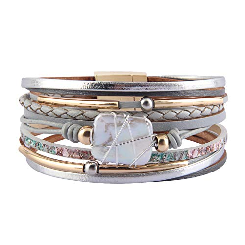 Jenia Leather Cuff Bracelet Baroque Pearl Multi Strand Wrap Bracelets Bohemian Bracelet with Magnetic Clasp for Women, Girls, Wife