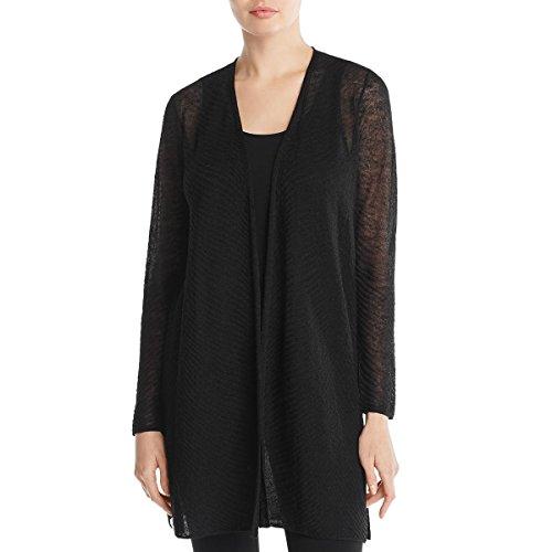 Eileen Fisher Womens Petites Lightweight Open Front Cardigan Sweater Black PP