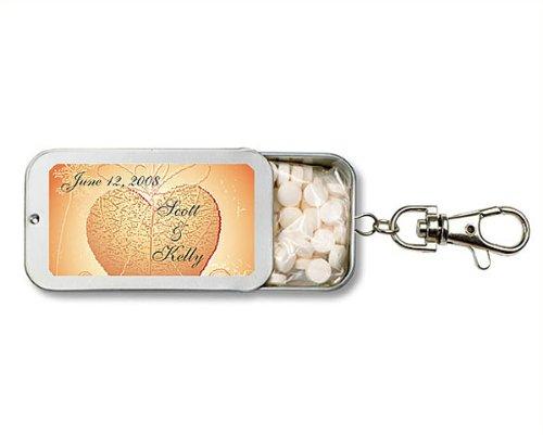 Heart Shape Leaf Design Personalized Key Chain Mint Tin Favors (Set of 24)