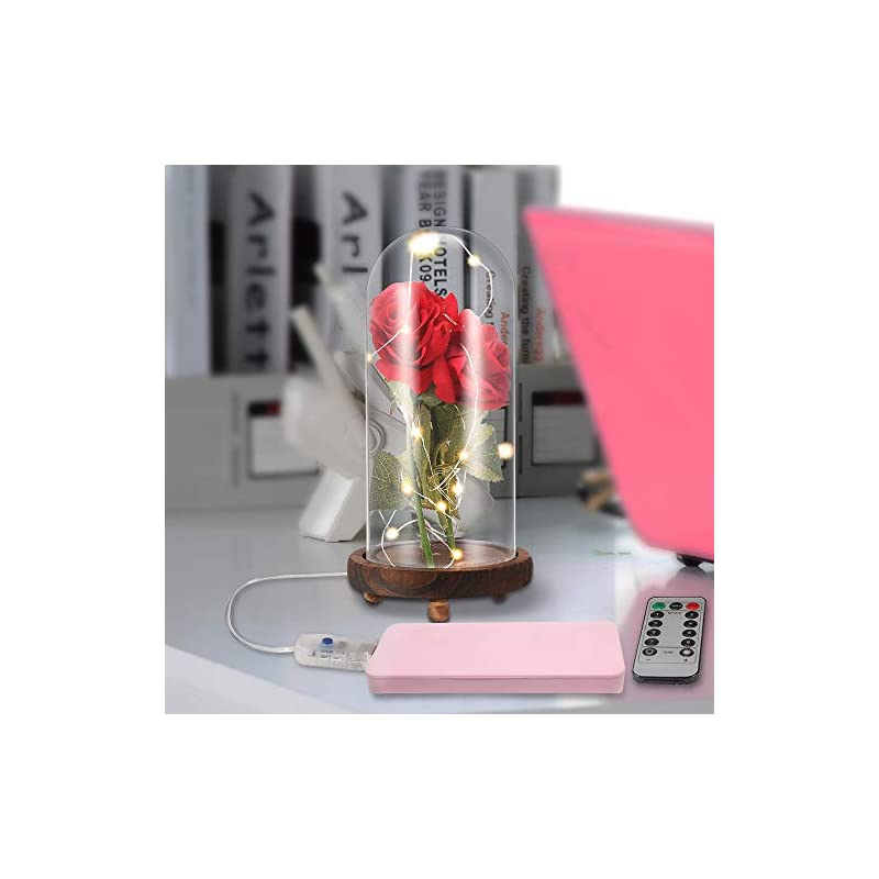 silk flower arrangements enchanted rose lamp light, beauty and the beast rose in glass dome with usb charge 20 led light & 2pcs silk enchanted rose flower on brown wood base, gift for birthday wedding valentine's day