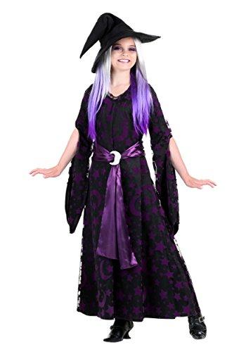 Girls Purple Moon Witch Costume Medium (8-10) - Button Moon Costume