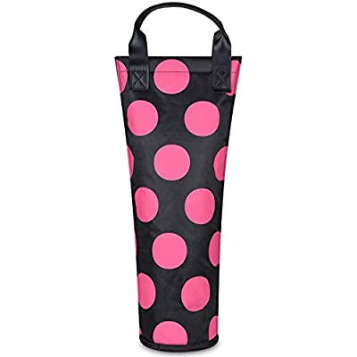 Insulated Single Bottle Nylon Wine Tote Carrier Travel Cooler Bag Purse Leather Handles Steel Opening Reusable, Pink