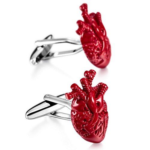 MOWOM Red Silver Tone 2PCS Rhodium Plated Cufflinks Heart Shirt Wedding Business (Plated Rhodium Cufflinks Cufflinks)