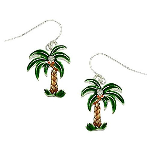 (DianaL Boutique Silver Tone Beautiful Palm Tree Earrings Enameled Gift Boxed Fashion Jewelry)