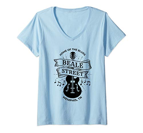 (Womens Memphis Beale Street Shirt TN Blues Music Gift V-Neck T-Shirt )