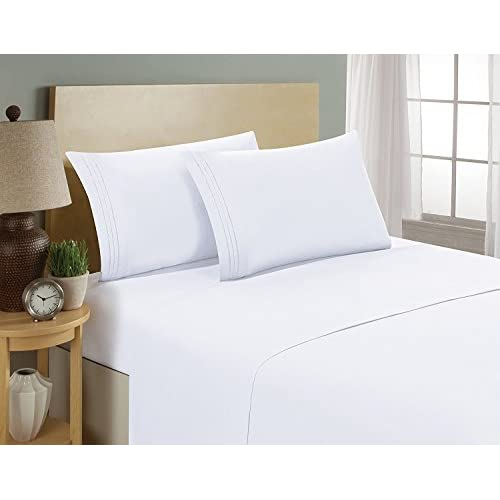 Wholesale Kathy Ireland Essentials 1800 Series Egyptian Collection 6 Piece Brushed Microfiber 3 Line Embroidered Sheet Set (Queen, White) for cheap