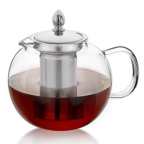 Tea Glass High - Hiware Glass Teapot Kettle with Infuser, Removable Tea Strainer, 45oz Large Microwavable and Stovetop Safe Tea Maker, Blooming & Loose Leaf Tea Pot Set