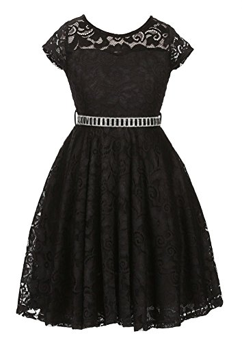 IGirlDress Big Girls Floral Lace Flower Girls Dresses Black 14