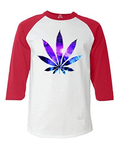 Shop4Ever Marijuana Leaf Galaxy Baseball Shirt Weed Stoner Raglan ShirtXXX-LargeWhite/Red61367