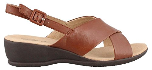 Trotters Women's Lee Cognac Burnished Soft Kid Leather Wedge