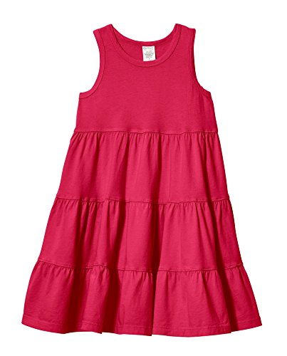 City Threads Big Girls' Super Soft Cotton Tank Tiered Dress For School Park Play and Party, Candy Apple, 4