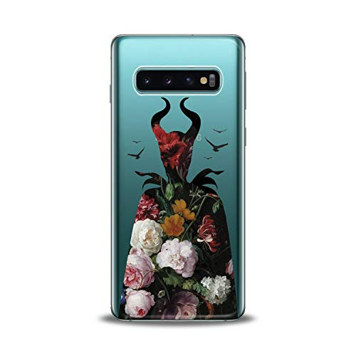Lex Altern Samsung Galaxy TPU Case s10 Plus 10e Note 9 s9 s8 s7 Edge Floral Maleficent Clear Rose Cute Flexible Girl Flower Cover Translucent Protective Women Silicone Movie Present Silhouette Gift