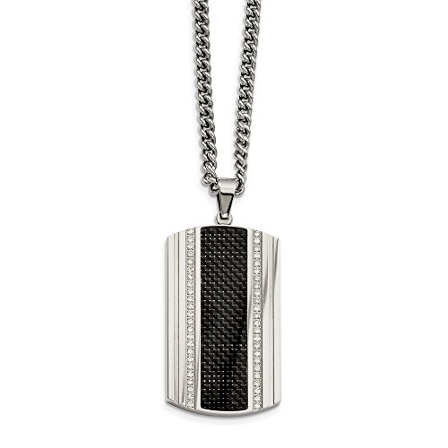 (ICE CARATS Stainless Steel Black Carbon Fiber Inlay Cubic Zirconia Cz Dog Tag Chain Necklace Man Pendant Charm Dogtag Fashion Jewelry Gift for Dad Mens for Him)