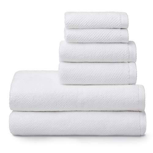 Welhome Franklin 100% Cotton Textured Towel (White) – Set of 6 – Highly Absorbent – Combed Cotton – Durable – Low Lint – 600 GSM – Machine Washable : 2 Bath Towels – 2 Hand Towels – 2 Wash Towels