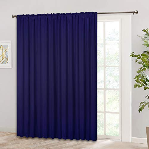 RYB HOME Insulated Window Curtain - Indoor Outdoor Curtain with Back Tab & Rod Pocket 2 Hanging Types, Blackout Drape for Sliding Glass Door/Living Room, 100 in Width x 84 in Length, Navy Blue (Glass Door Patio Types)