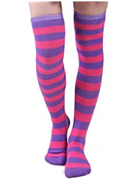 HDE Women's Opaque Solid and Striped Thigh High Stockings Socks