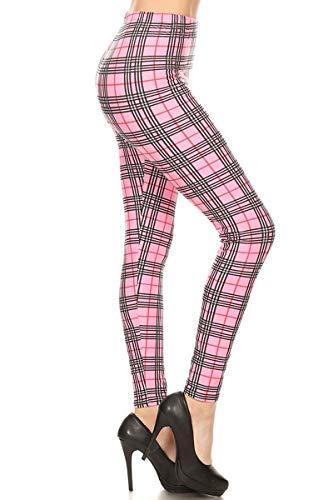 S573-OS Checkered Pink Print Fashion Leggings, One Size (Barbie Leggings)