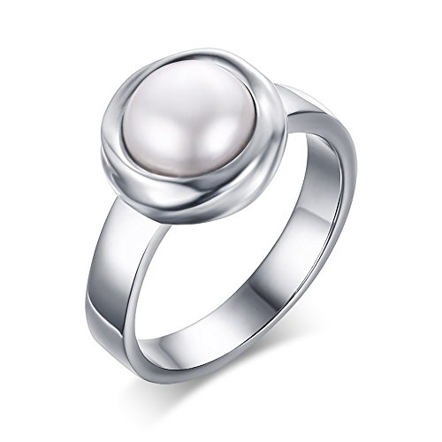 YIKOXI Women's Stainless Steel Freshwater Cultured Pearl Engagement Ring,Size 7-9,Size 9