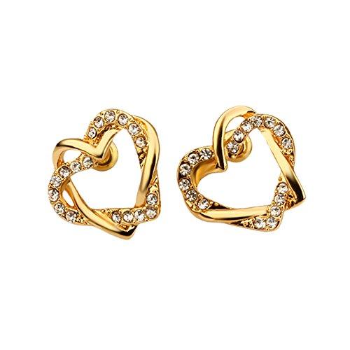 Heart Duo (Gold Interlocking Open Dual Heart Duo Earrings with Cubic Zirconia Stones - Pop Fashion)