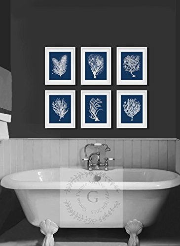 navy blue and coral wall art - 9