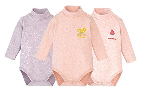 - Infant Baby Boys Girls Long Sleeves Thermal Onesies Turtle-Neck Bodysuit Fall Winter Cloths Outfit (3-Pack Pink, 0-3 Months)