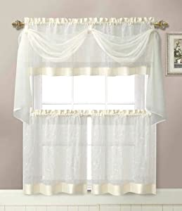 Linen Leaf Embroidered Sheer Kitchen Curtain Set - Assorted Colors