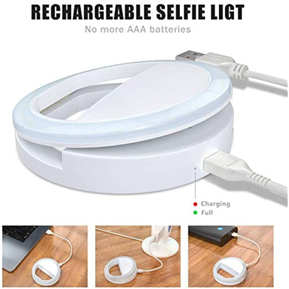 Rechargeable 36 LED Light 3-Level Meifigno Selfie Phone Camera Ring Light with