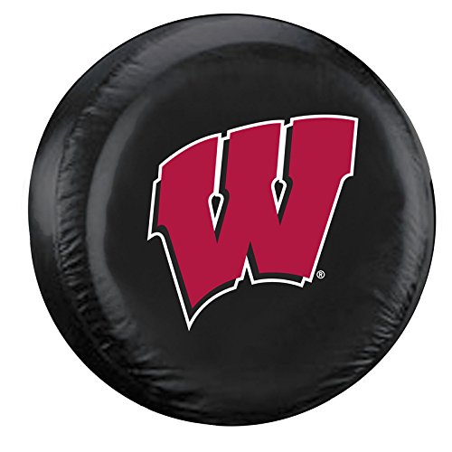 NCAA Wisconsin Black Spare Tire Cover, One Size, Multicolor