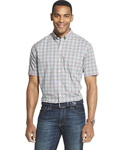 Van Heusen Men's Never Tuck Slim Fit Short Sleeve Button Down Shirt, Aqua Blue Moon, Medium