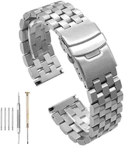 Watch Accessories 316L Solid Stainless Steel Strap Men and Women Double Lock Buckle Black/Silver Strap 20mm / 22mm / 24mm (22mm, Silver)