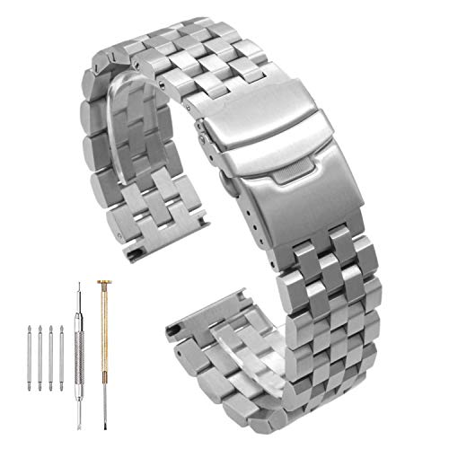 316L Solid Stainless Steel Watch Band, Accessories for Men and Women with Double Lock Buckle Black/Silver 20mm / 22mm / 24mm (22mm, Silver)