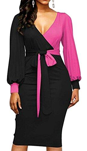 Jaycargogo Femmes Manches Longues V Cou Colorblock Pellicule Mini Robe Moulante 6