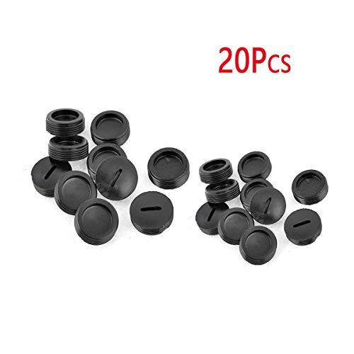 COMOK 20Pcs 18mm Threaded Dia Black Plastic External Thread Carbon Brush Holder Caps for Motor