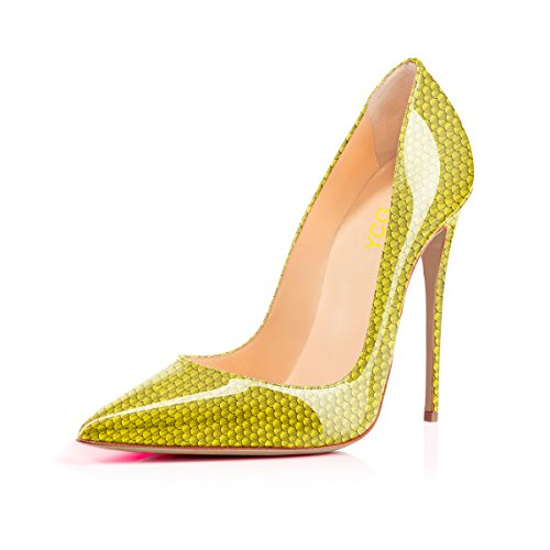 Ycg Scarpe Da Donna Tacco Alto Rosso Sangue Stampa Slip On Scarpe Verde Chiaro
