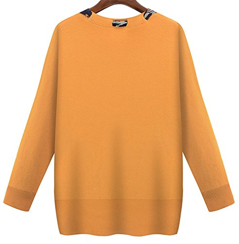Grande Sweater Tops YOGLY taille Tricots Hiver Manches Jaune Jumper longues Pullover Pull Casual et Atomene Femme Echarpe 88z6q7