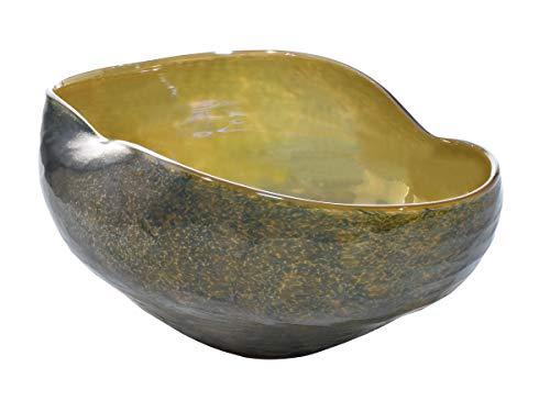 Dale Tiffany Prismatic Hand Blown Art Glass Bowl, Green (Green Bowl Glass Art)