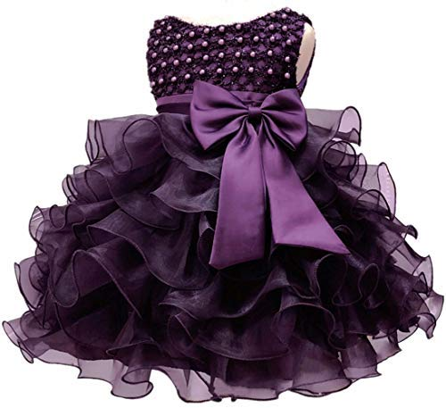 Little Baby Girl Dress Flower Ruffles Party Wedding Pageant Princess Purple Dresses]()