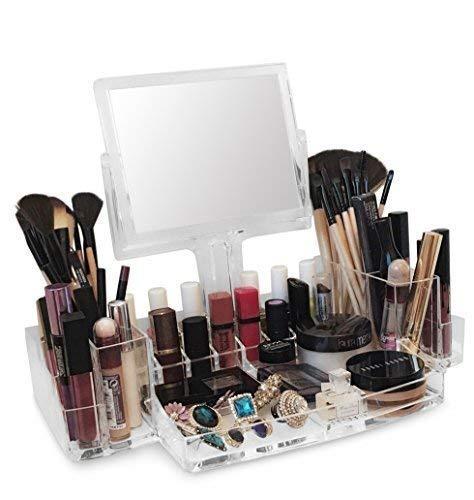OI Labels acrilico trasparente MAKE-UP/Cosmetico/GIOIELLERIA/Smalto per Unghie/PROFUMO Organizzatore Espositore Stand con girevole Specchio ingrandente ( alto grado 3mm Acrilico)