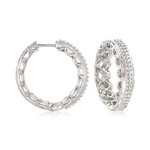 Ross-Simons 0.50 ct. t.w. Diamond Scalloped Hoop Earrings in Sterling Silver ()