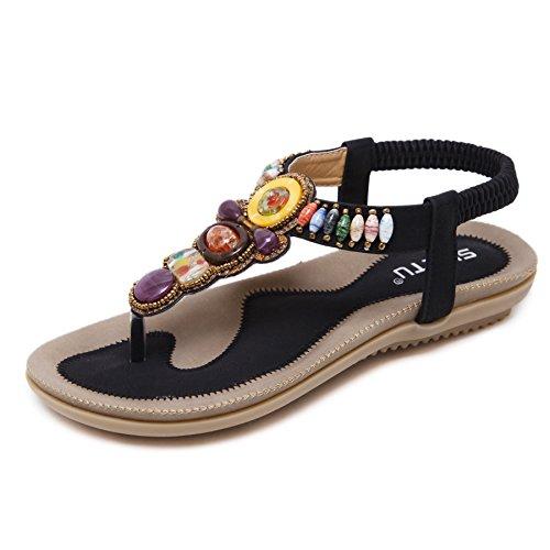 Casual Beach Sandals - Landove Women Summer Rhinestones Bohemian Rubber Flip Flop Slippers Black