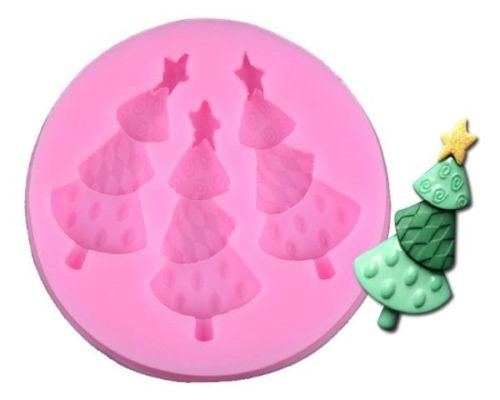 Baking Molds 3D Silicone Mould Cake Candy Pastry Tools Decorating Non-stick Christmas Tree with Star on Top Sugarcraft Fondant Gum Paste Chocolate Making Crafts Mold Soap Decorations 1Pcs