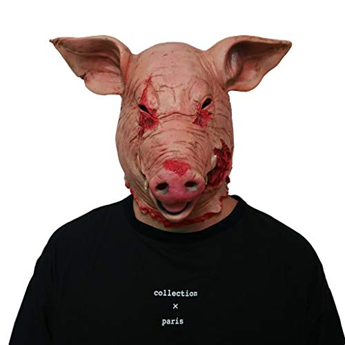 Halloween Horror Pig Head Mask, Latex Animal Props for Adult Mask Headgear ()
