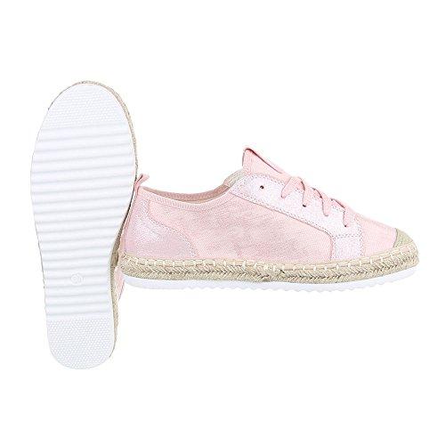 Low-Top Sneaker Damen-Schuhe Low-Top Sneakers Schnürsenkel Ital-Design Freizeitschuhe Rosa, Gr 37, B754S-Bl-