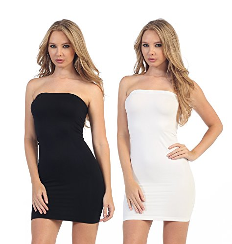 Band Tube Dress (Kurve Strapless Stretchy Comfort Mini Sexy Tube Dress (XS/M, M/L, L/XL, XL/XXL) -Made in USA-)