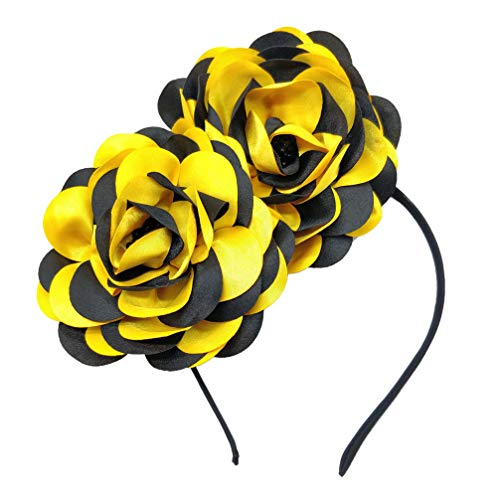 (Vintage Elegant Flower Fascinator Hair Clip Headband (CE Black Yellow))