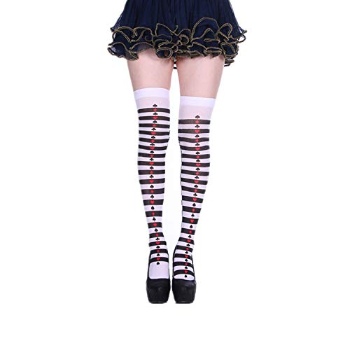 Guy Makeup Tutorial For Halloween (Print Poker Card Red Heart long socks Halloween Dress Up knee high Socks Party Cosplay Joker Witch Sock Thigh High Stockings,8,China,One)