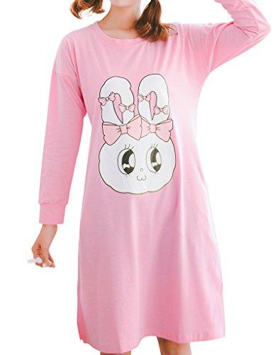 MyFav Big Girls' Spring Long Sleeve Nightgowns Cute Bowknots Rabbit Sleepwear Bowknot Rabbit