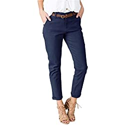 Geckatte Womens Slimming Straight Leg Pants Casual Cropped Ankle Flat Front Trousers