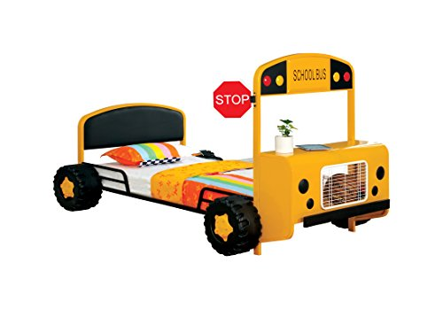 HOMES: Inside + Out ioHOMES Skoolie Bus Youth Bed, Twin, Yellow/Black (Youth Beds For Boys)