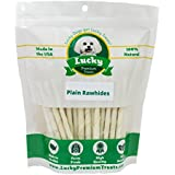 Lucky Premium Treats Plain Rawhide Dog Treats for Small Dogs Made in the USA Only by, 35 Chews